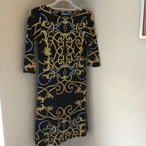 J. McLaughlin Sheath Dress. Black chain print.
